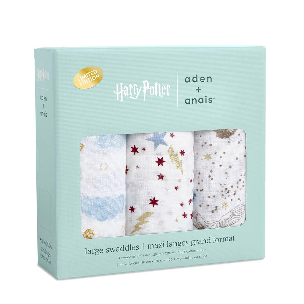 aden + anais Metallic Swaddles - Harry Potter - 3 Pack-Swaddling Wraps- Natural Baby Shower