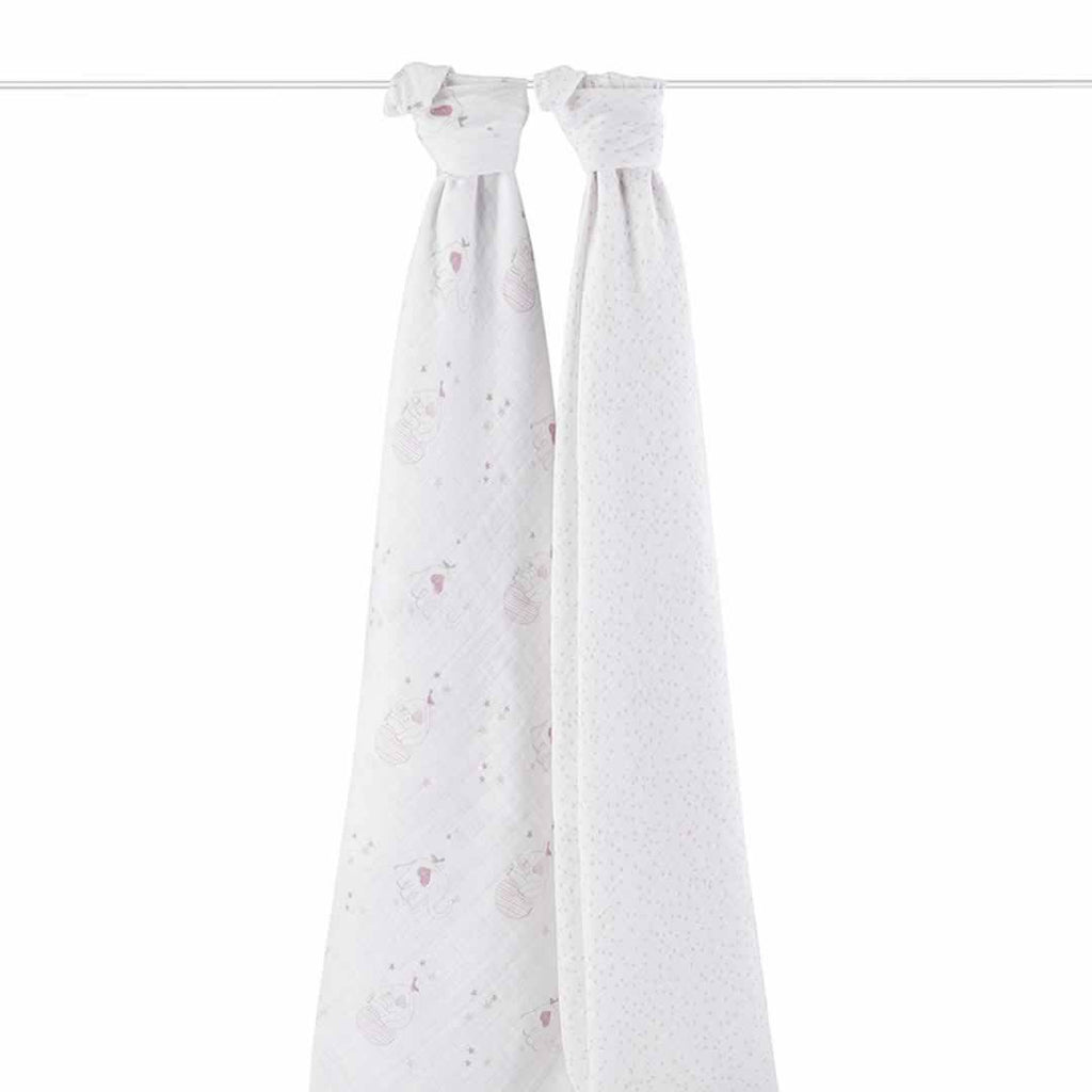 aden + anais Muslin Swaddles - Lovely - 2 Pack - Swaddling Wraps - Natural Baby Shower