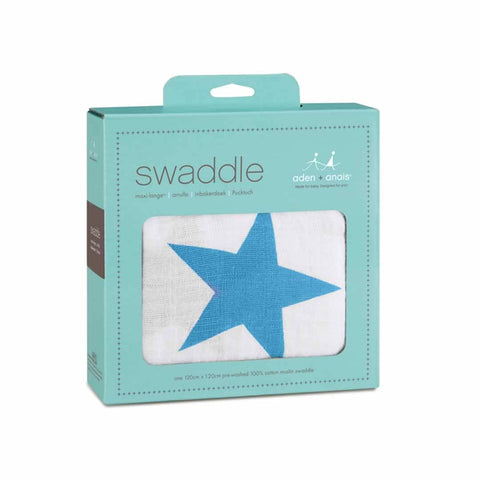 aden + anais Muslin Swaddle - Brilliant Blue-Swaddling Wraps-Brilliant Blue- Natural Baby Shower