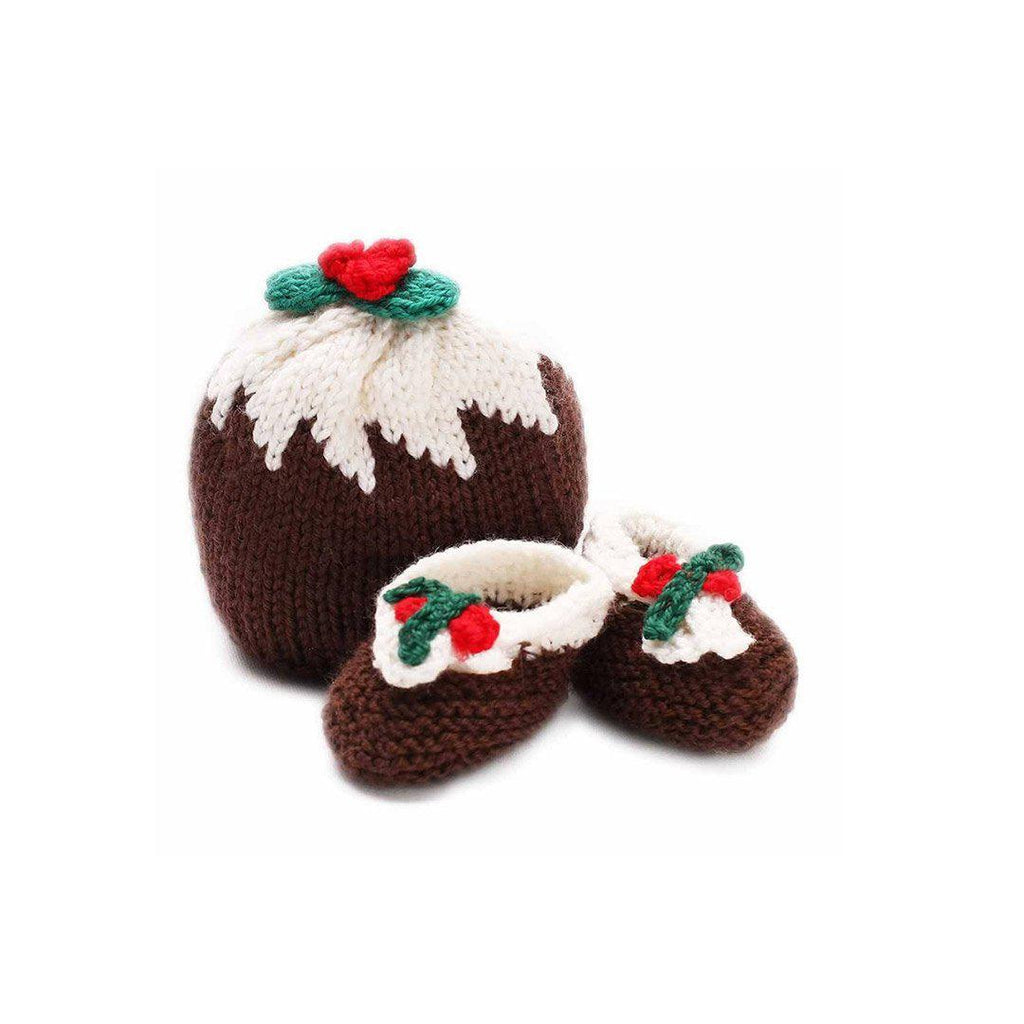 Ana Gibb Christmas Pudding Hat & Booties-Booties- Natural Baby Shower