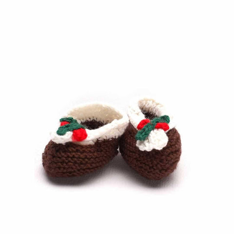 Ana Gibb Christmas Pudding Booties - Baby Shoes & Booties - Natural Baby Shower