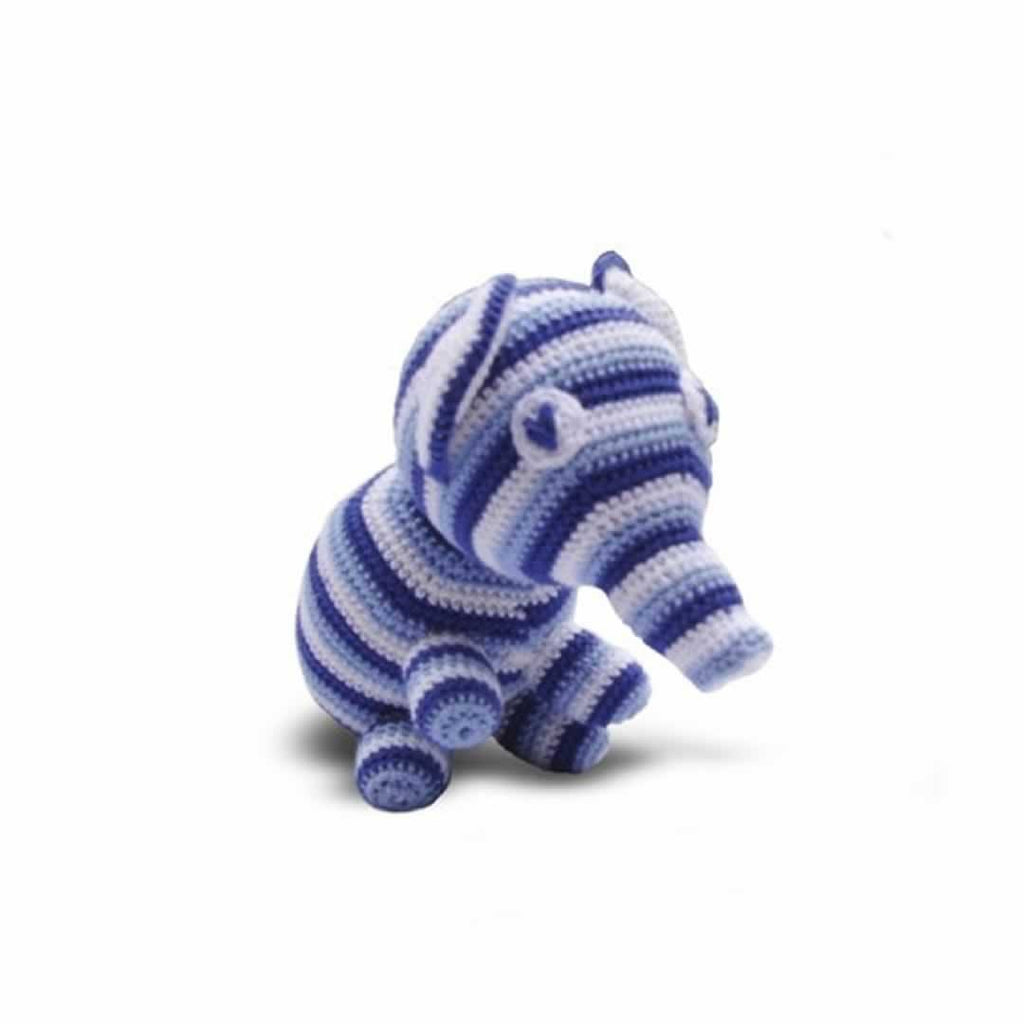 Ana Gibb Knitted Baby Elephant - Blue-Soft Toys-Blue- Natural Baby Shower