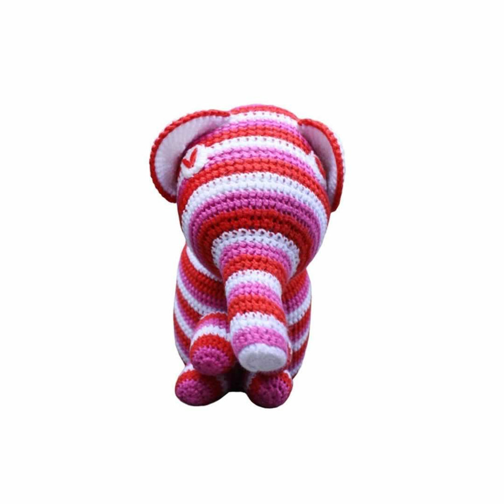 Ana Gibb Knitted Baby Elephant - Pink-Soft Toys-Pink- Natural Baby Shower
