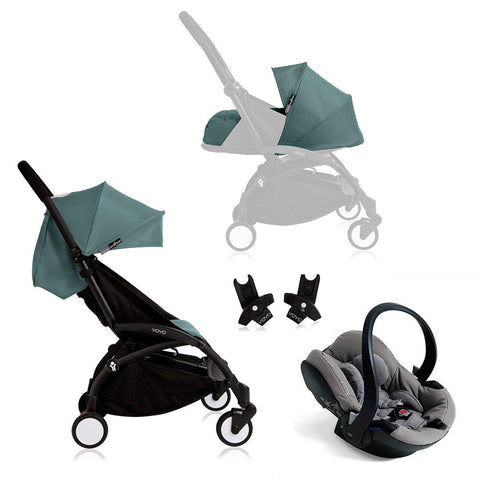 BABYZEN YOYO+ Travel System - Grey Car Seat - Black Frame with Aqua-Travel Systems- Natural Baby Shower