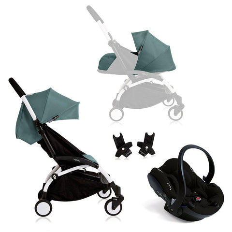 BABYZEN YOYO+ Travel System - Black Car Seat - White Frame with Aqua-Travel Systems- Natural Baby Shower