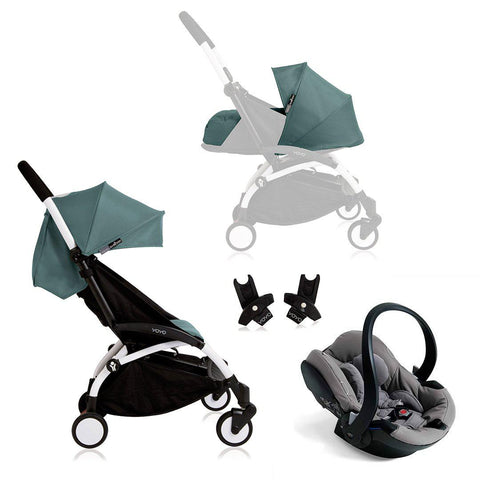 BABYZEN YOYO+ Travel System - Grey Car Seat - White Frame with Aqua-Travel Systems- Natural Baby Shower
