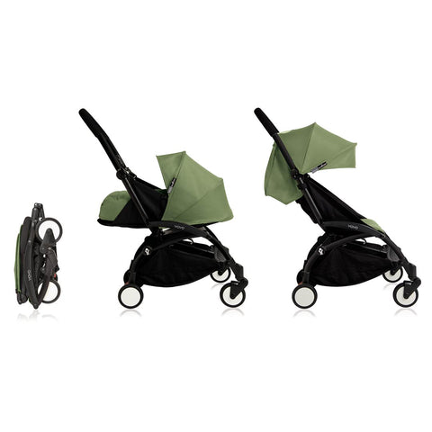 BABYZEN YOYO+ Complete Stroller - Black & Peppermint-Strollers- Natural Baby Shower