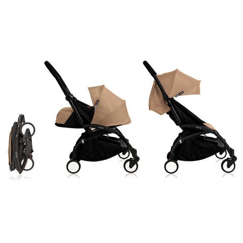 BABYZEN YOYO+ Complete Stroller - Black & Taupe-Strollers- Natural Baby Shower