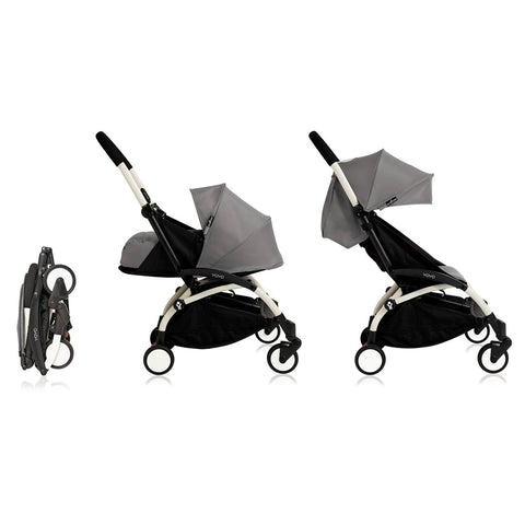 BABYZEN YOYO+ Complete Stroller - White & Grey-Strollers- Natural Baby Shower