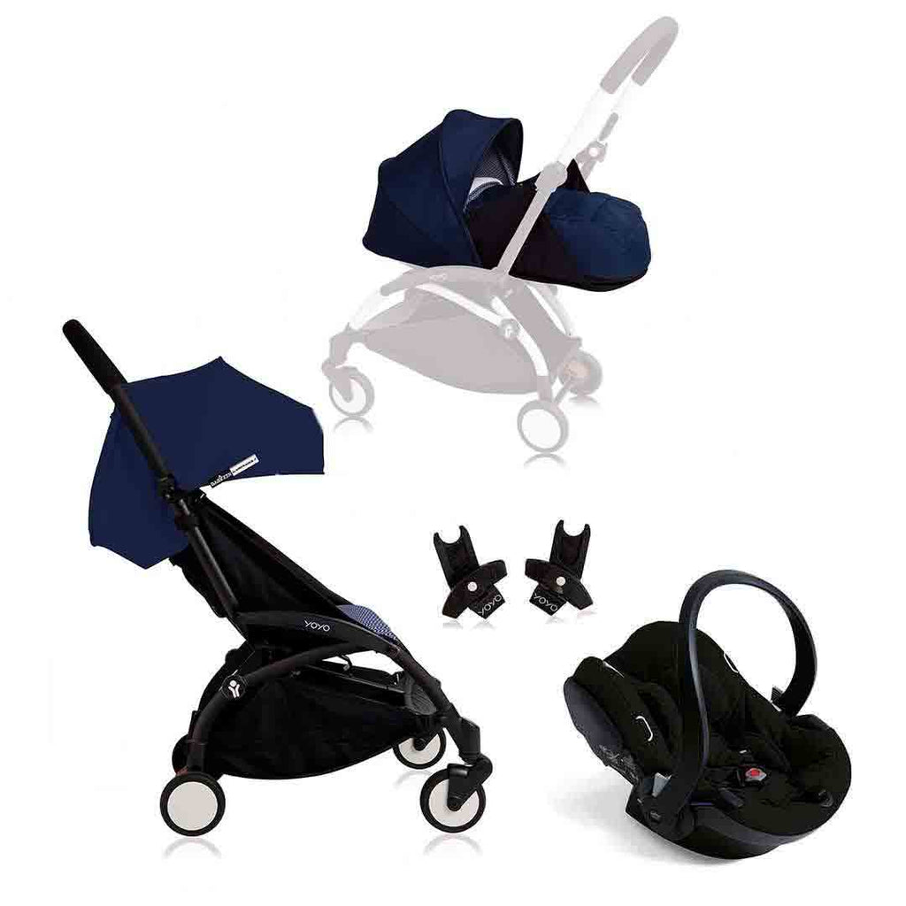 BABYZEN YOYO+ Travel System - Black with Air France Blue