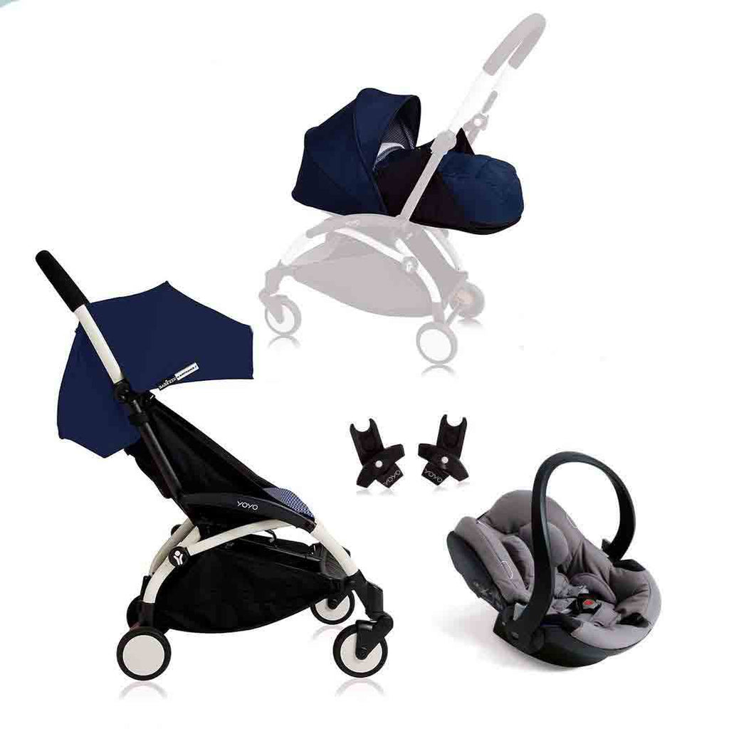 BABYZEN YOYO+ Travel System - Grey Car Seat - White Frame with Air France Blue-Travel Systems-Grey- Natural Baby Shower
