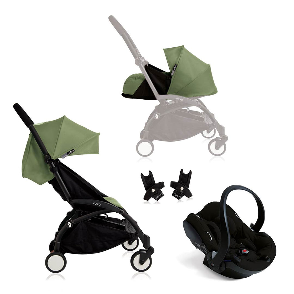 BABYZEN YOYO+ Travel System - Black Car Seat - Black Frame with Peppermint-Stroller Bundles- Natural Baby Shower