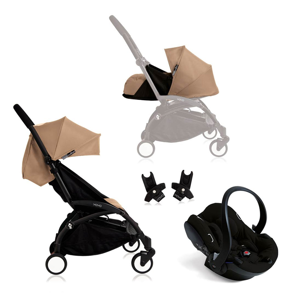 BABYZEN YOYO+ Travel System - Black Car Seat - Black Frame with Taupe-Strollers- Natural Baby Shower