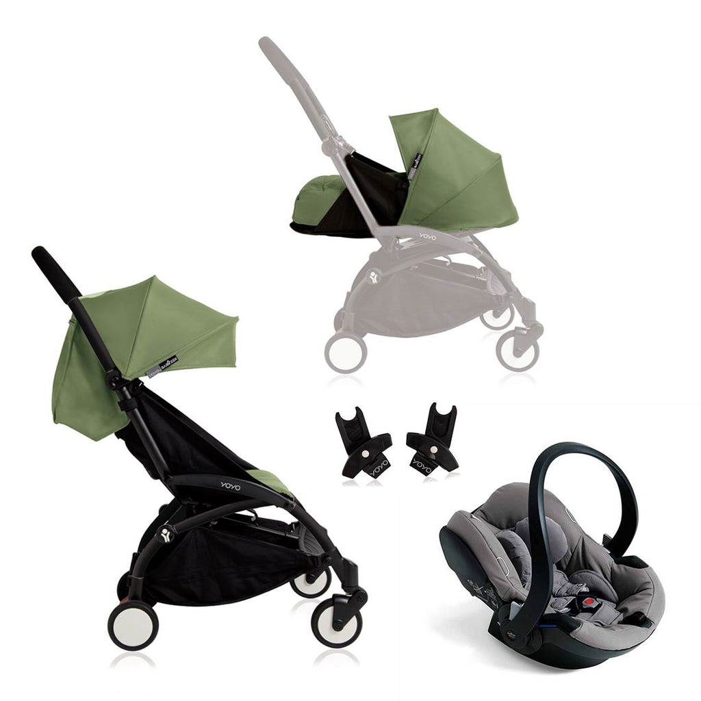 BABYZEN YOYO+ Travel System - Grey Car Seat - Black Frame with Peppermint-Strollers- Natural Baby Shower