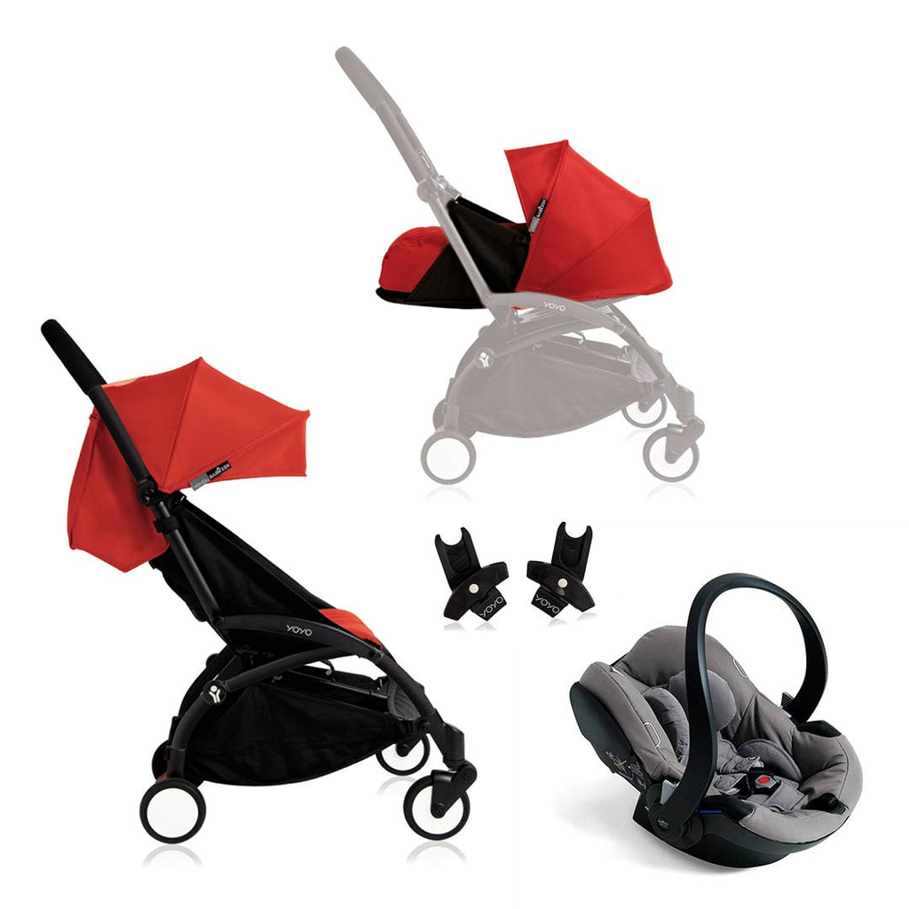 BABYZEN YOYO+ Travel System - Grey Car Seat - Black Frame with Red-Strollers- Natural Baby Shower