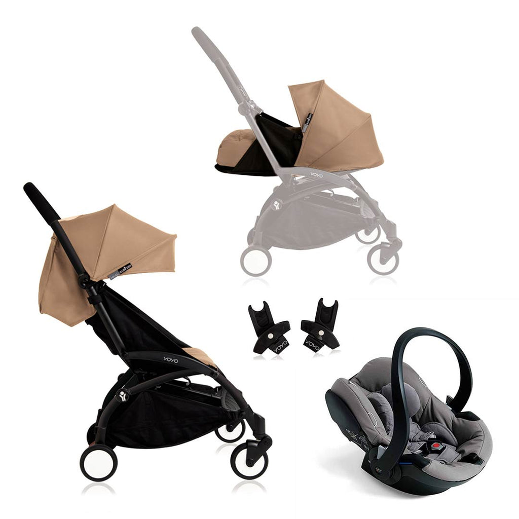 BABYZEN YOYO+ Travel System - Grey Car Seat - Black Frame with Taupe-Strollers- Natural Baby Shower