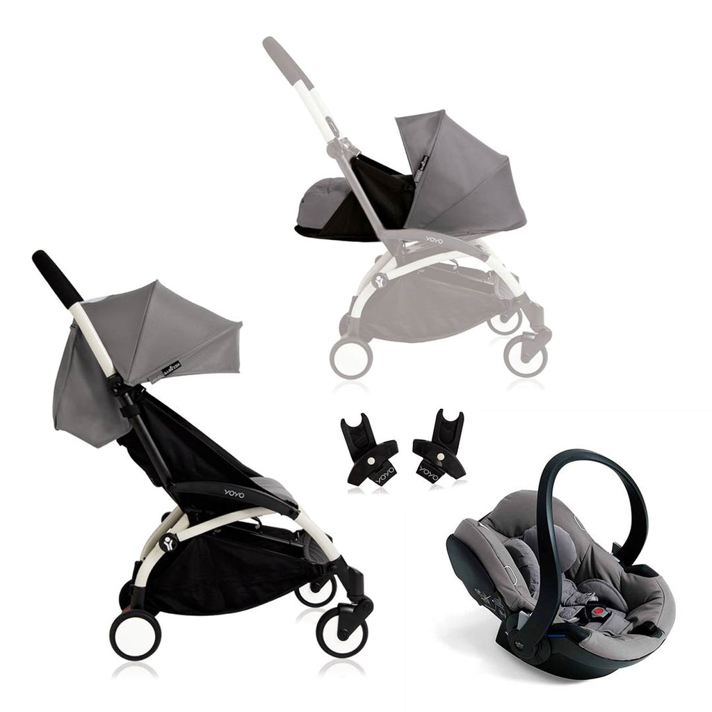 BABYZEN YOYO+ Travel System - Grey Car Seat - White Frame with Grey-Stroller Bundles- Natural Baby Shower