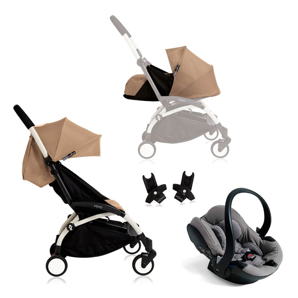 BABYZEN YOYO+ Travel System - Grey Car Seat - White Frame with Taupe-Stroller Bundles- Natural Baby Shower