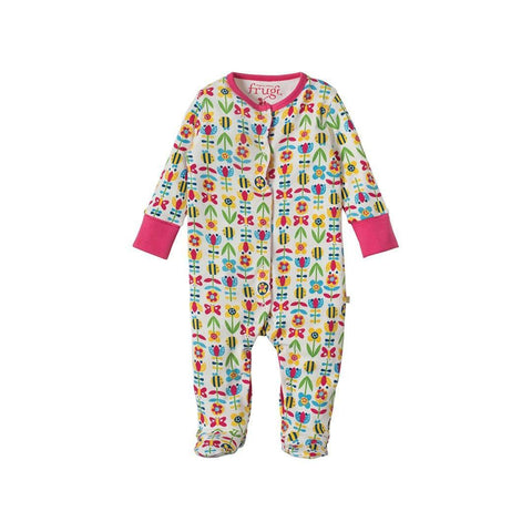 Frugi Lovely Babygrow - Soft Bumble Bloom