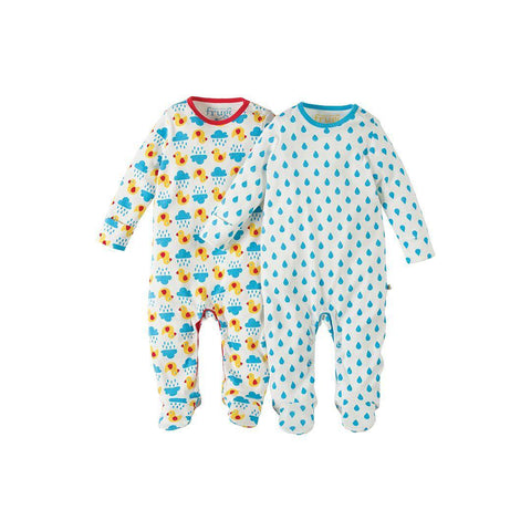 Frugi Scrumptious Babygrow 2 Pack - Duck Weather/Sky Drops