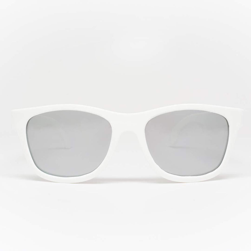 Babiators Aces Navigator - Wicked White with Mirrored Lens Front