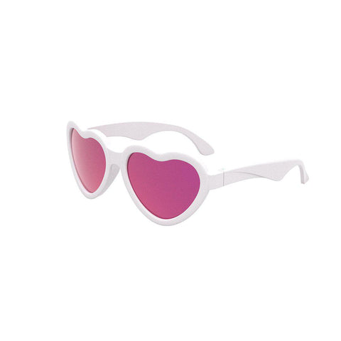 Babiators Original Classic Heart-Shaped - Pink Mirrored-Sunglasses-Classic (Ages 3-5)-Pink Mirrored- Natural Baby Shower