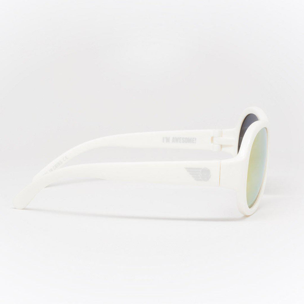 576fb56238 ... Babiators Polarized Aviator - Wicked White-Sunglasses- Natural Baby  Shower