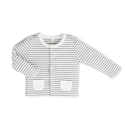 Baby Mori Cardigan Grey Stripe