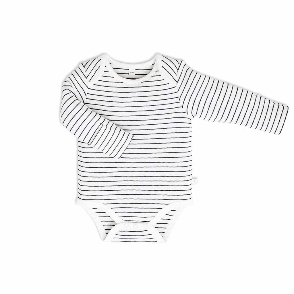 MORI Long Sleeve Bodysuit - Grey Stripe-Bodysuits- Natural Baby Shower