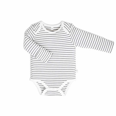 Baby Mori Long Sleeve Bodysuit Grey Stripe