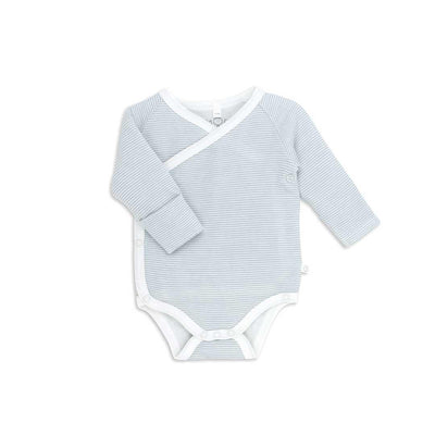 MORI Long Sleeve Kimono Bodysuit - Blue-Bodysuits- Natural Baby Shower