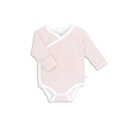 MORI Long Sleeve Kimono Bodysuit - Blush-Bodysuits- Natural Baby Shower