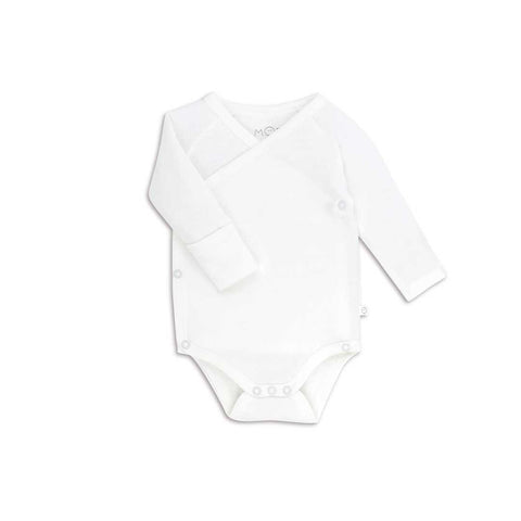 MORI Long Sleeve Kimono Bodysuit - White-Bodysuits- Natural Baby Shower