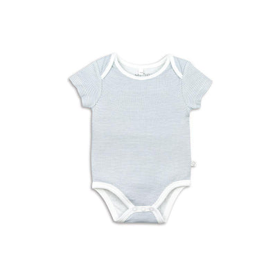 MORI Short Sleeve Bodysuit - Blue-Bodysuits- Natural Baby Shower