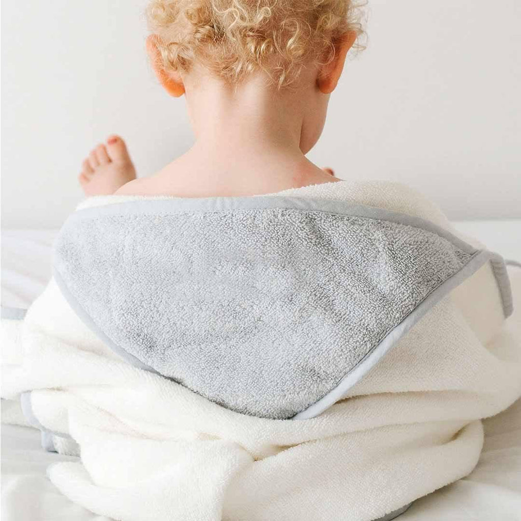 MORI Toddler Towel - White & Grey-Towels & Robes-12-36m-White & Grey- Natural Baby Shower