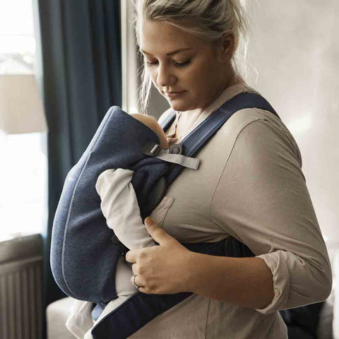 BabyBjörn 3D Jersey Mini Baby Carrier - Dove Blue-Baby Carriers-Dove Blue- Natural Baby Shower