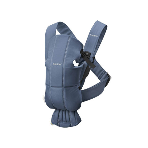 BabyBjörn Cotton Mini Baby Carrier - Vintage Blue-Baby Carriers-Vintage Blue- Natural Baby Shower