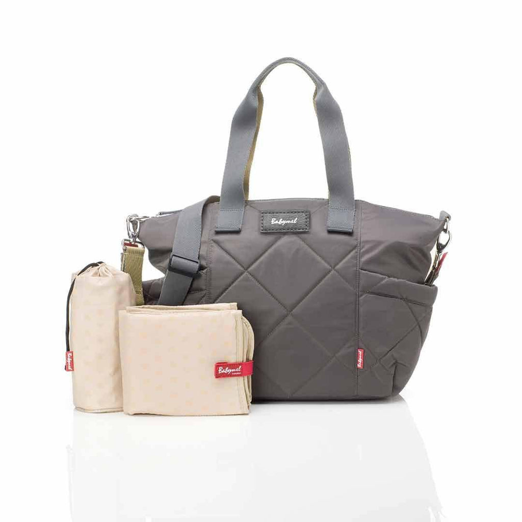 Babymel Changing Bag - Evie Quilted - Charcoal-Changing Bags- Natural Baby Shower