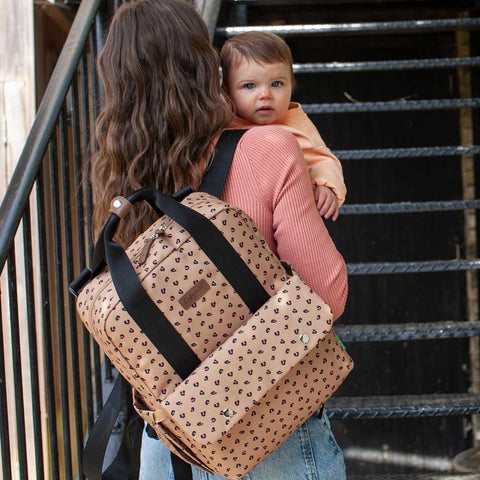 Babymel Changing Bag - Georgi - 	Caramel Leopard-Changing Bags- Natural Baby Shower