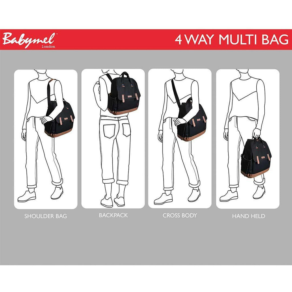 Babymel Changing Bag - Robyn - Navy Origami Heart 4 ways
