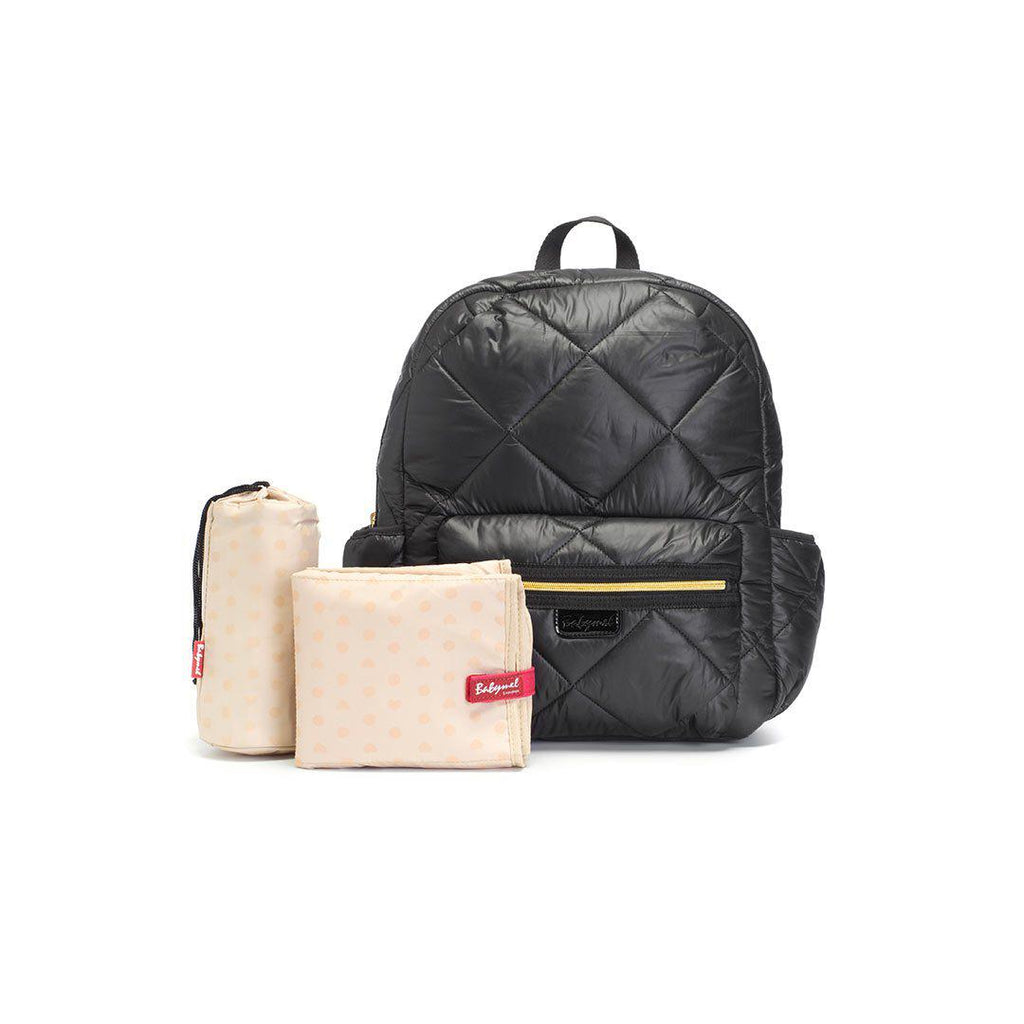 Babymel Luna Ultra Lite Changing Bag - Black Quilt-Changing Bags- Natural Baby Shower