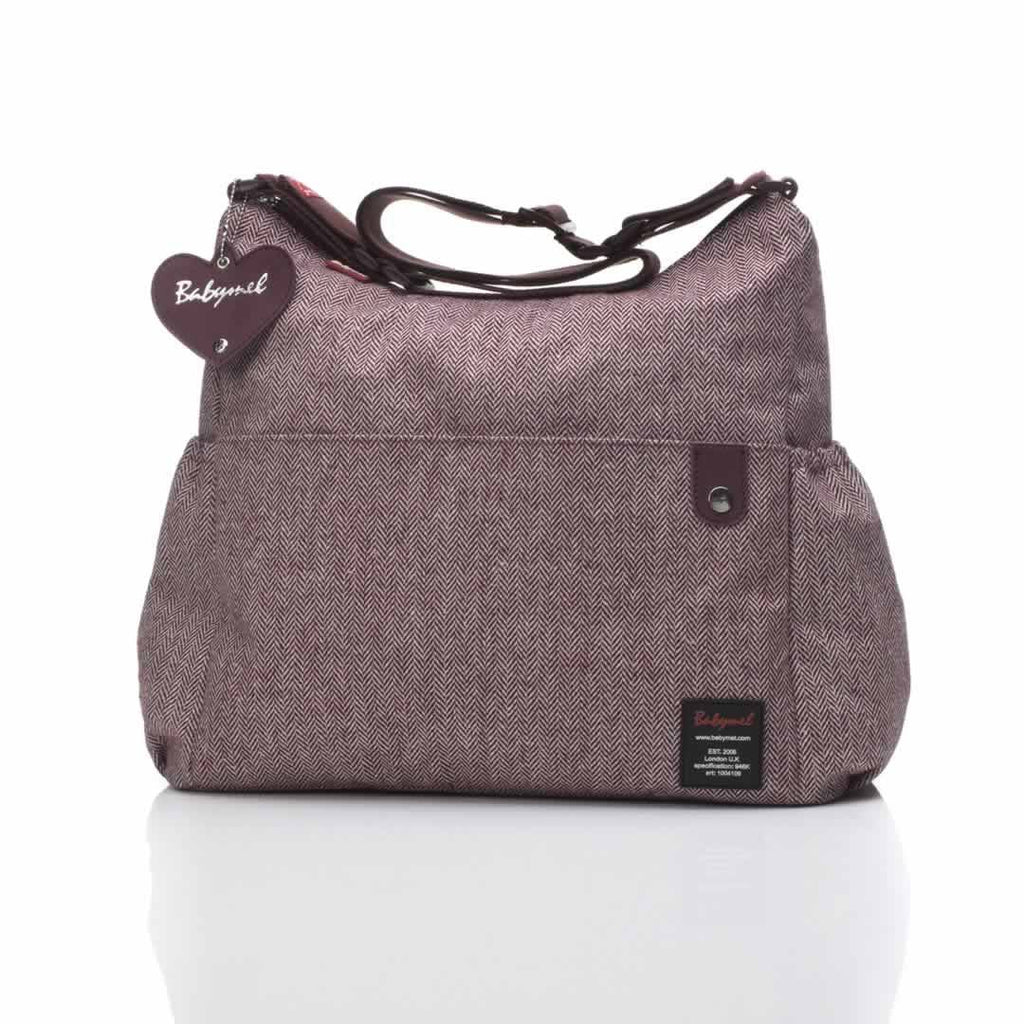 Babymel Changing Bag - Big Slouchy in Tweed Aubergine