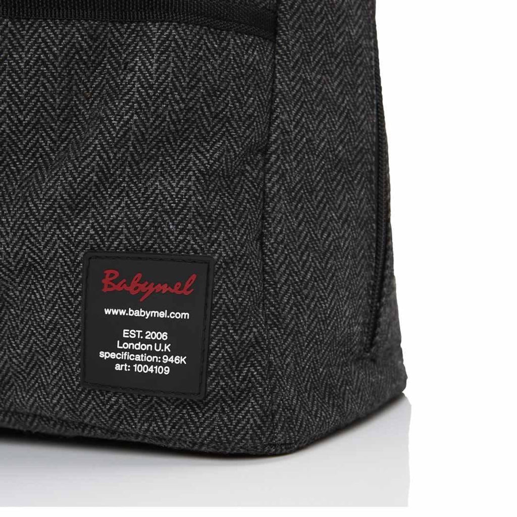 Babymel Changing Bag - Toni - Tweed Grey Detail