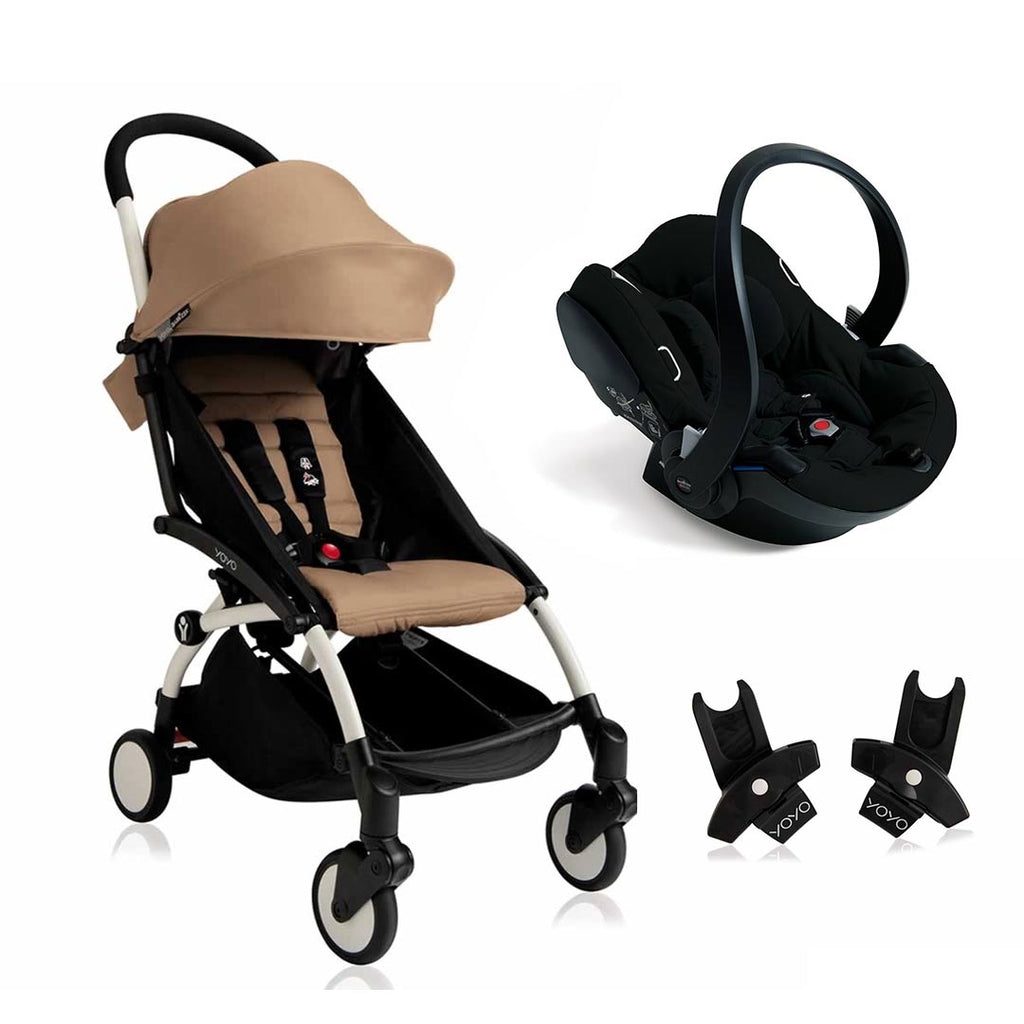 BABYZEN YOYO+ 6+ Travel System - White Frame with Taupe-Travel Systems-Black- Natural Baby Shower