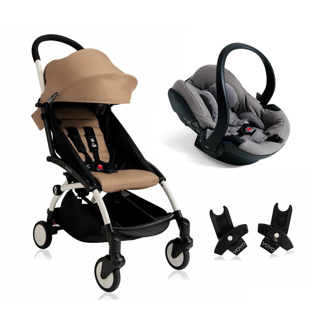 BABYZEN YOYO+ 6+ Travel System - White Frame with Taupe-Travel Systems-Grey- Natural Baby Shower