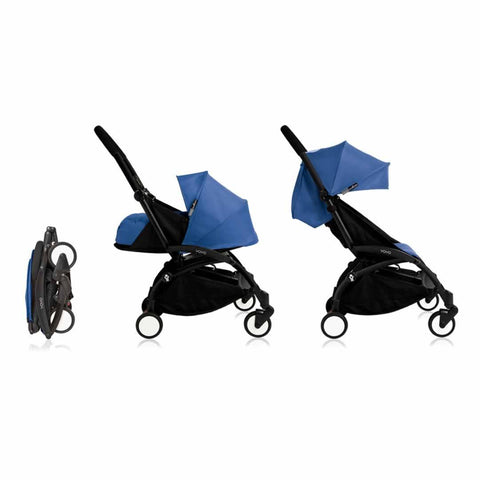 Babyzen YoYo Plus Complete Stroller - Black with Blue - Strollers - Natural Baby Shower