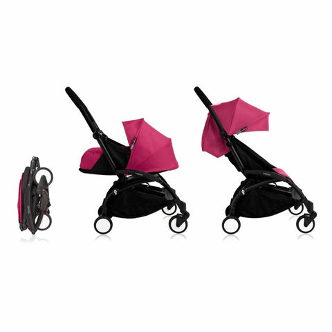 Babyzen YoYo Plus Complete Stroller - Black with Pink - Strollers - Natural Baby Shower