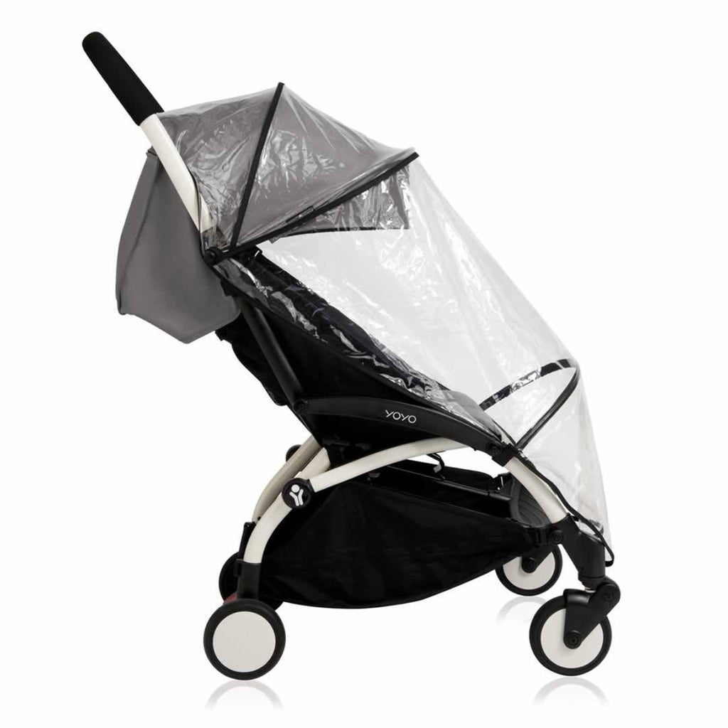 Babyzen YoYo Plus - 6+ Stroller White with Black Raincover Side