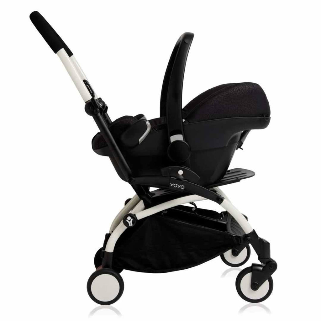 Babyzen YoYo Plus Complete Stroller White with Pink with car seat