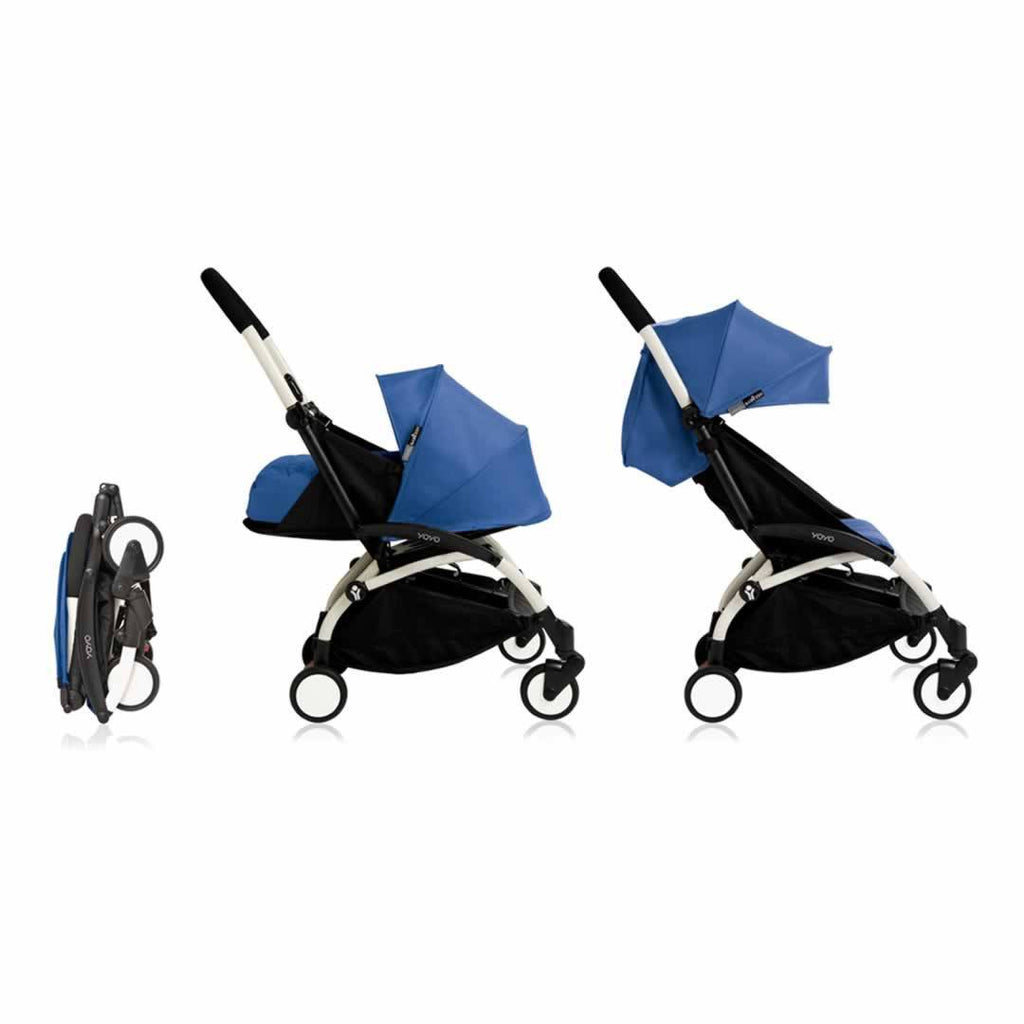 Babyzen YoYo Plus Complete Stroller - White with Blue - Strollers - Natural Baby Shower